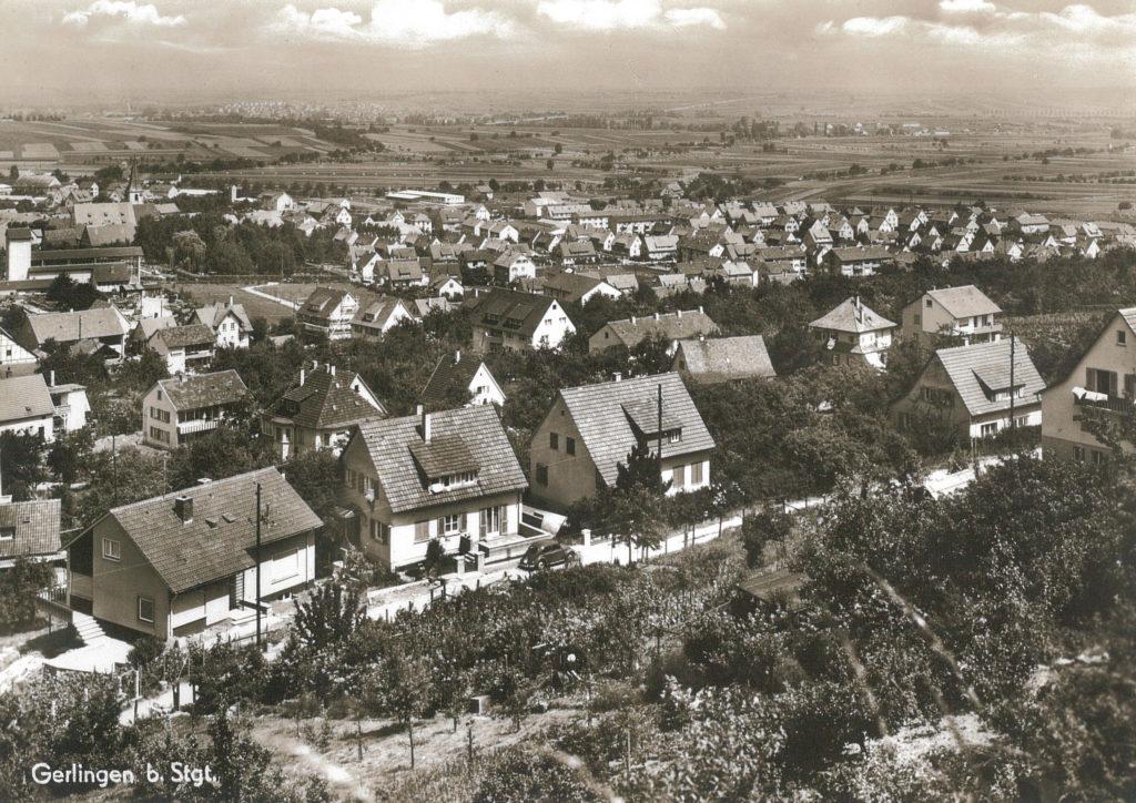 Blick auf Gerlingen von Süden her; im Vordergrund die Reiflestraße (ca. 1955-60)