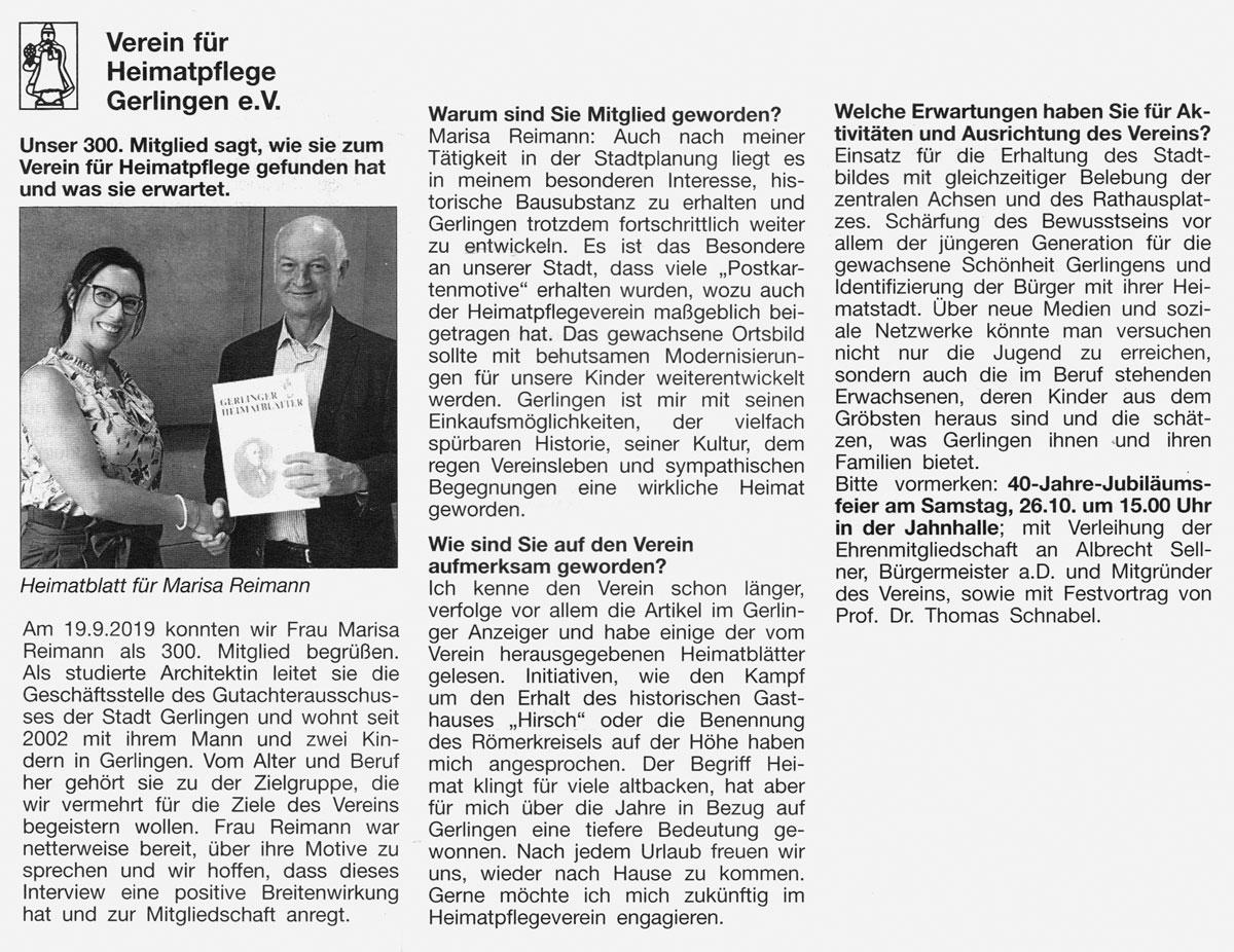 Gerlinger Anzeiger vom 11.10.2019
