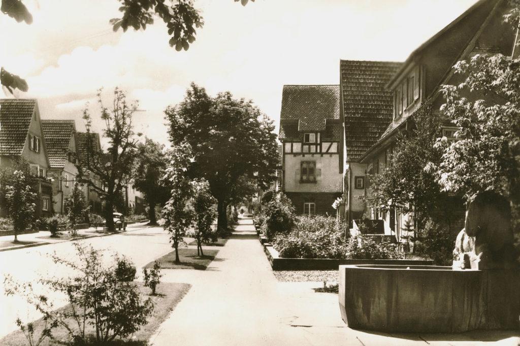 Gerlingen um 1958 obere Hauptstr. u. Rösslebrunnen