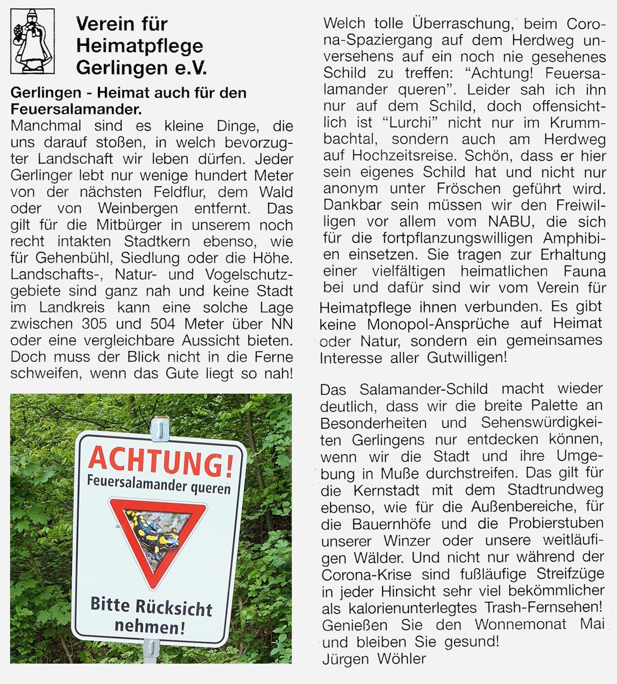 Gerlinger Anzeiger vom 30.04.2020