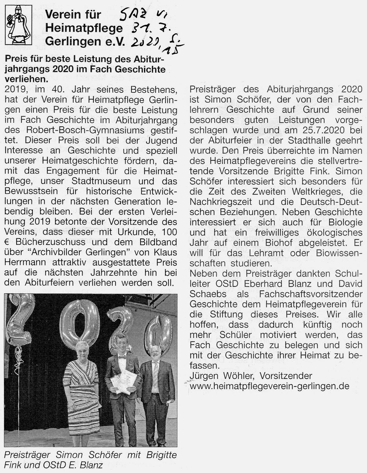 Gerlinger Anzeiger vom 31.07.2020