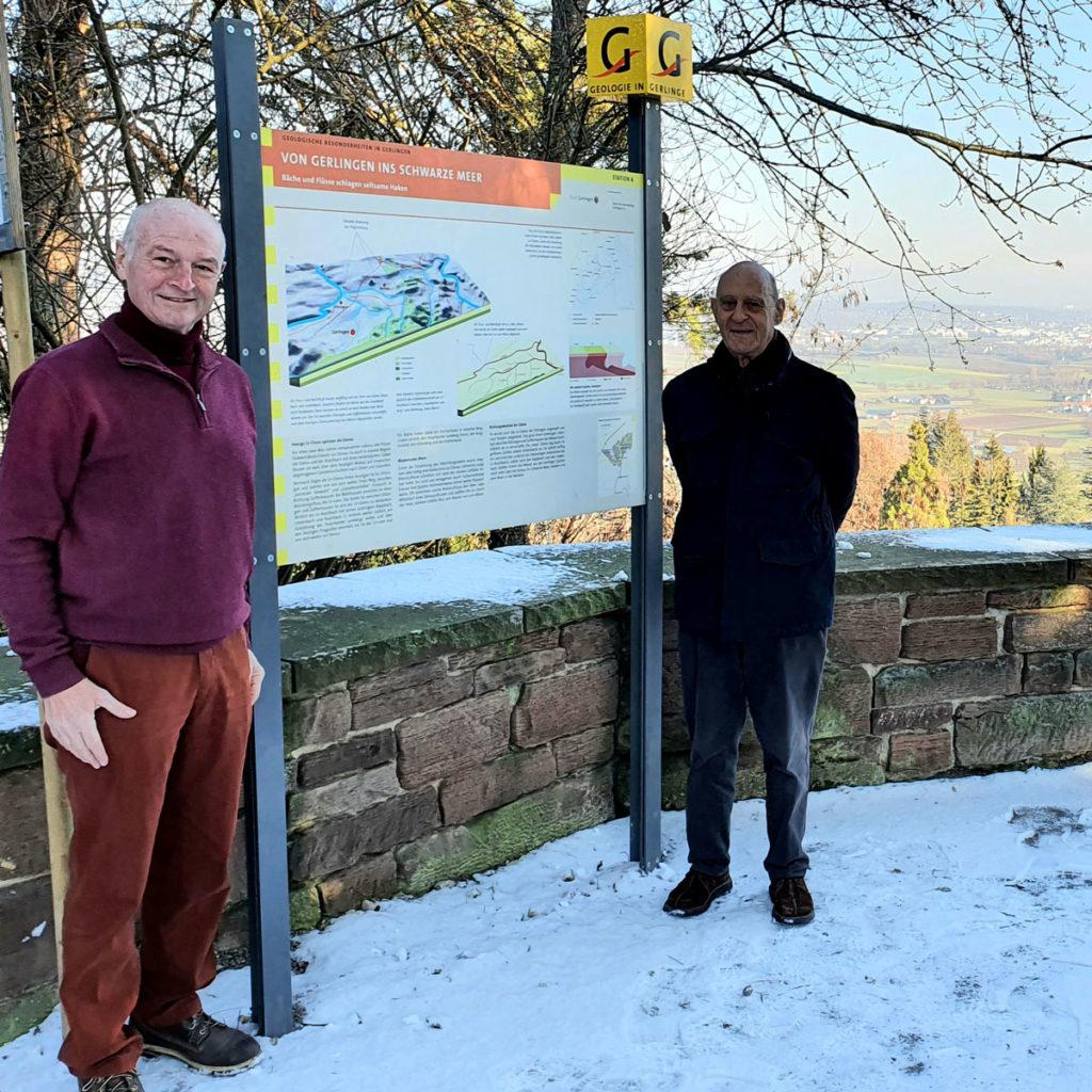 Tafel 6 am neuen Standort mit Rudof Bubeck und Jürgen Wöhler