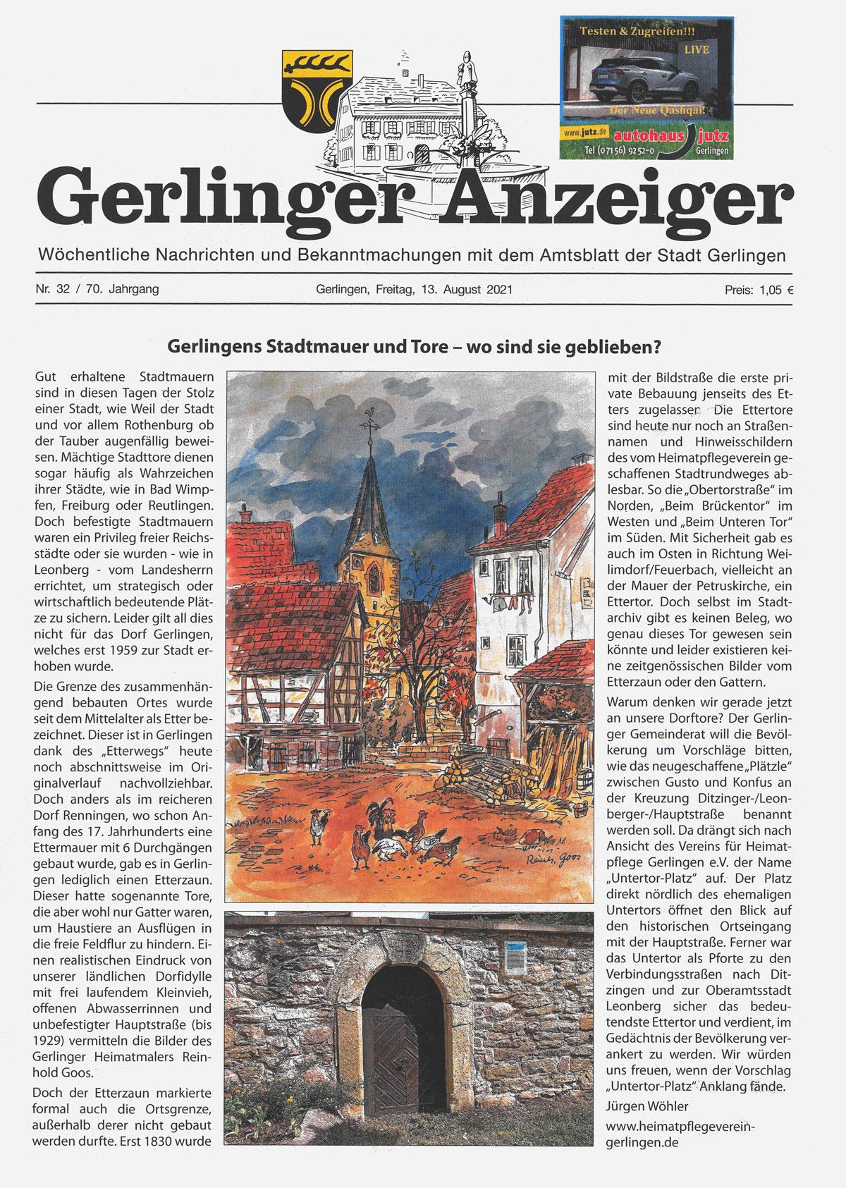 Gerlinger Anzeiger vom 13.08.2021